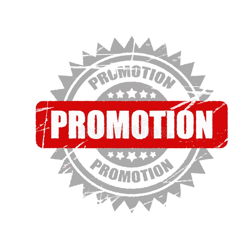 Vektorförderungsstempel informativer Illustrations-, Werbungs- und Marketing-Hintergrund stock abbildung