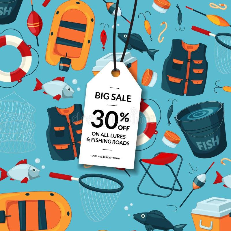 Vektorförsäljningsbakgrund med tecknad filmfiskeutrustning royaltyfri illustrationer
