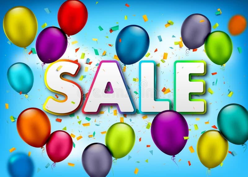Vektorförsäljningsbaner med konfettier, mångfärgade luftballonger på himmelbakgrund Sommardesignmall för befordran, affisch, rekl vektor illustrationer