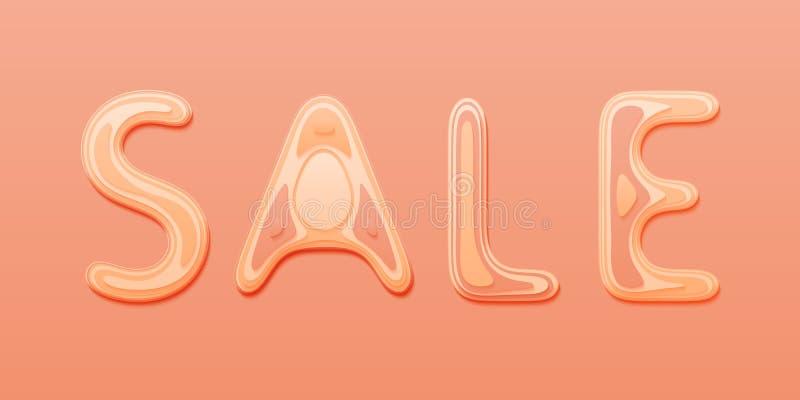 Vektorförsäljningsbanret med papper klippte text som märker designen för baner, reklambladet, inbjudan, affischen, webbplatsen el royaltyfri illustrationer