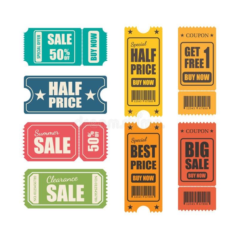 Vektorförsäljningsbiljetter royaltyfri illustrationer
