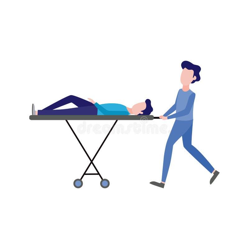 Vektorförsta hjälpen, nöd- sjuksköterska och patient stock illustrationer