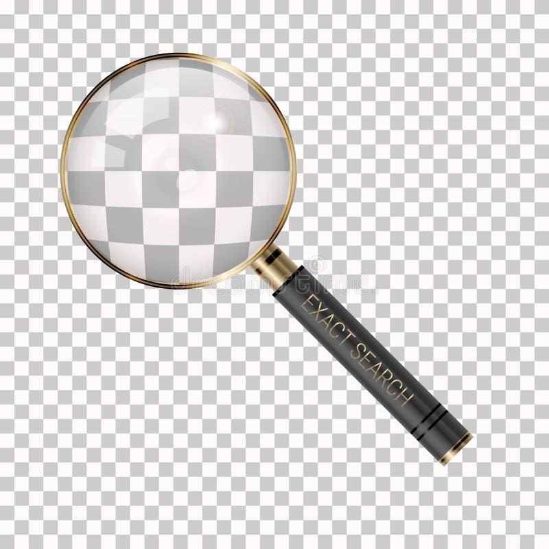 Vektorförstoringsapparat på en genomskinlig bakgrund Förstoringsglassymbol Sökande-, forskning-, kriminalare- eller utredningsymb stock illustrationer