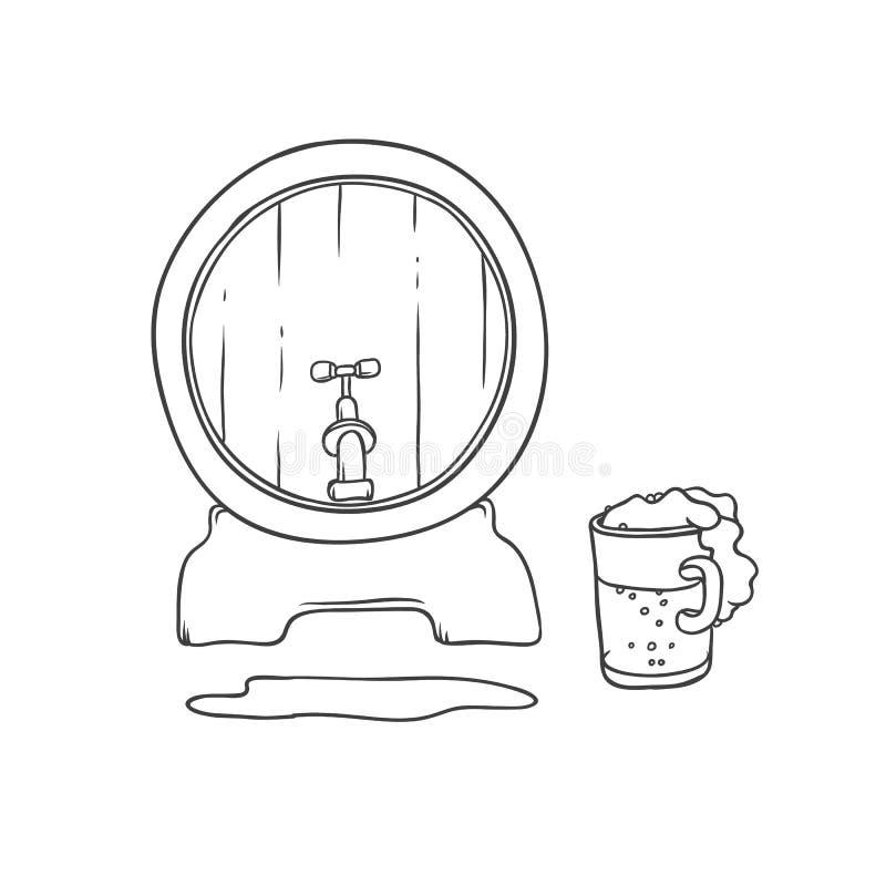 Vektorfaß und Trommelbier Blasenschaum, der aus Becher ausläuft Alkoholisches Getränk des Getränks in den Glaswaren Lokalisiertes lizenzfreie abbildung