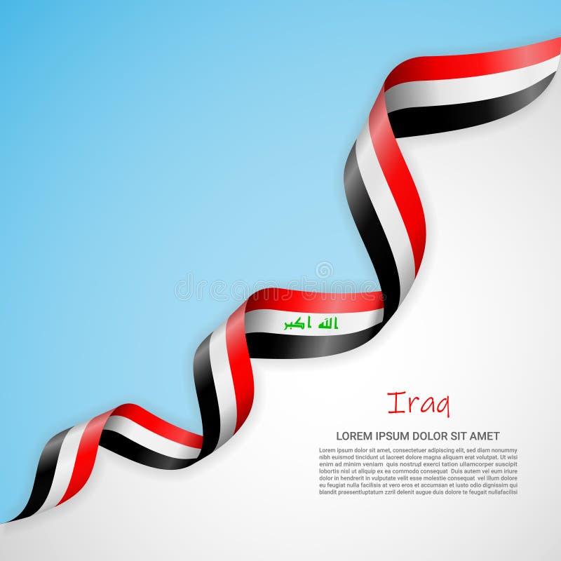 Vektorfahne in den weißen und blauen Farben und wellenartig bewegendes Band mit Flagge vom Irak Schablone für Plakatentwurf, Bros lizenzfreie abbildung