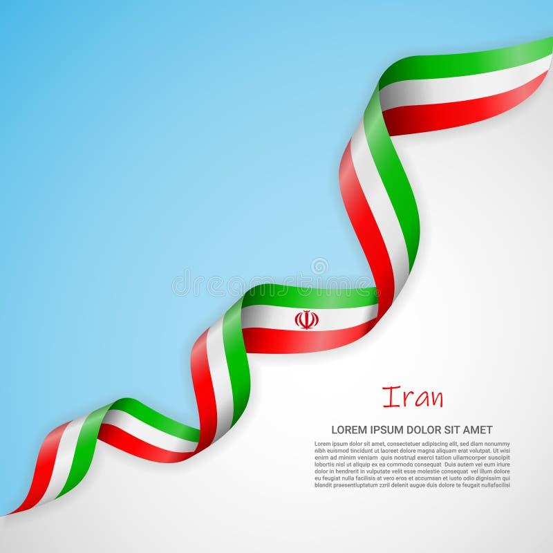 Vektorfahne in den weißen und blauen Farben und wellenartig bewegendes Band mit Flagge vom Iran Schablone für Plakatentwurf, Bros vektor abbildung