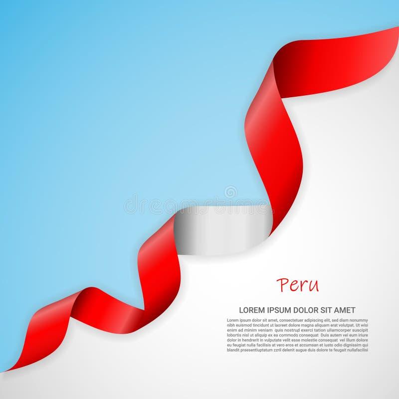 Vektorfahne in den weißen und blauen Farben und wellenartig bewegendes Band mit Flagge von Peru Schablone für Plakatentwurf, Bros lizenzfreie abbildung