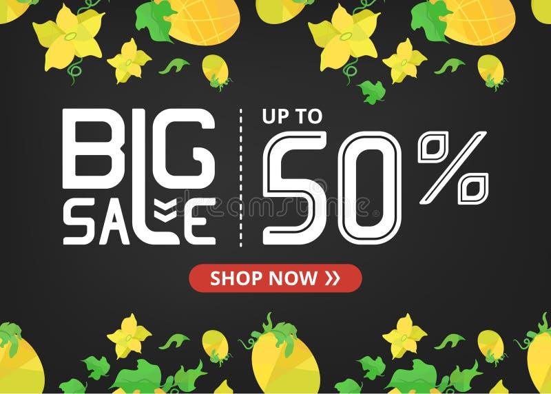 Vektorfahne mit großen Verkauf jetzt beschriften Shop von bis fünfzig Prozent und orange Melonen mit Blumen stock abbildung