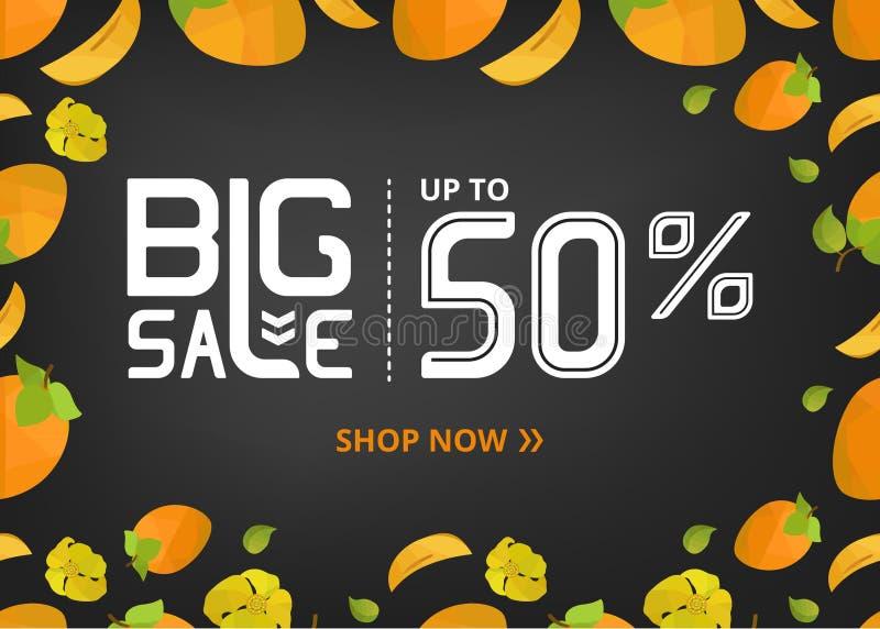 Vektorfahne mit großen Verkauf jetzt beschriften Shop von bis fünfzig Prozent und Persimone mit Blume vektor abbildung