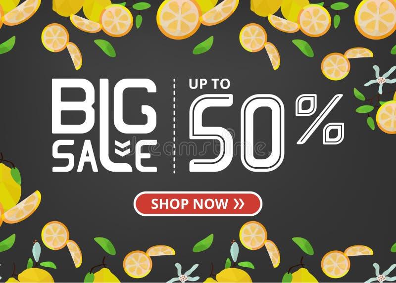 Vektorfahne mit großen Verkauf jetzt beschriften Shop von bis fünfzig Prozent und Zitronen mit Blumen lizenzfreie abbildung