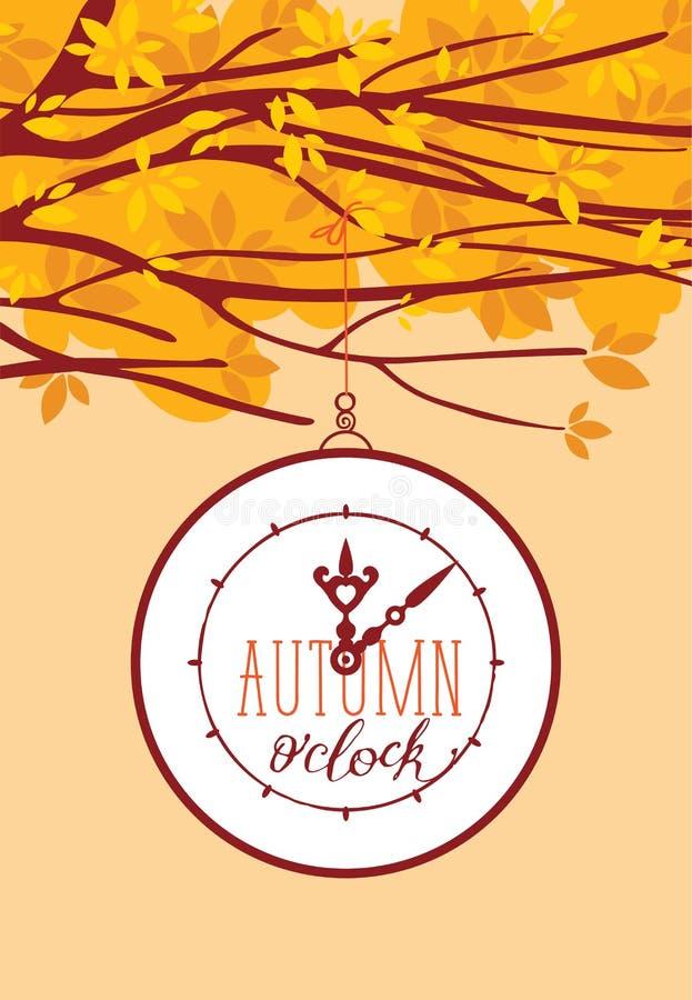 Vektorfahne mit Herbstbaum und -uhr lizenzfreie abbildung