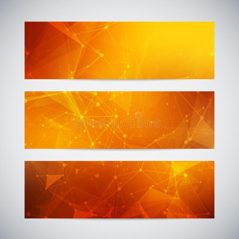 Vektorfahnen eingestellt mit polygonalen abstrakten Formen vektor abbildung
