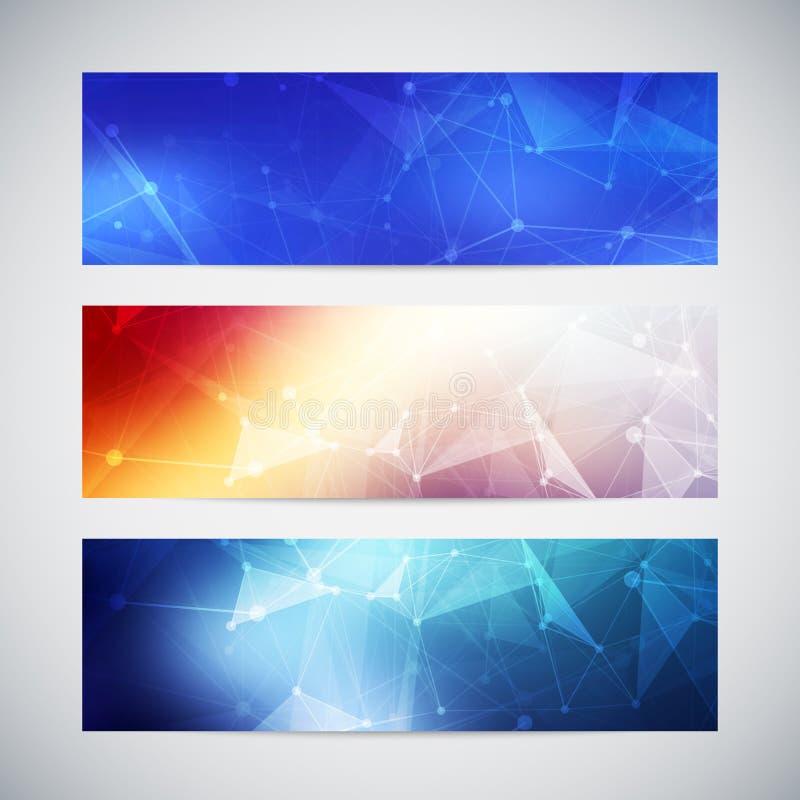 Vektorfahnen eingestellt mit polygonalen abstrakten Formen lizenzfreie abbildung