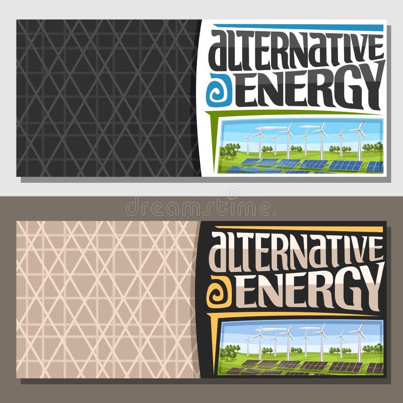 Vektorfahnen für alternative Energie lizenzfreie abbildung