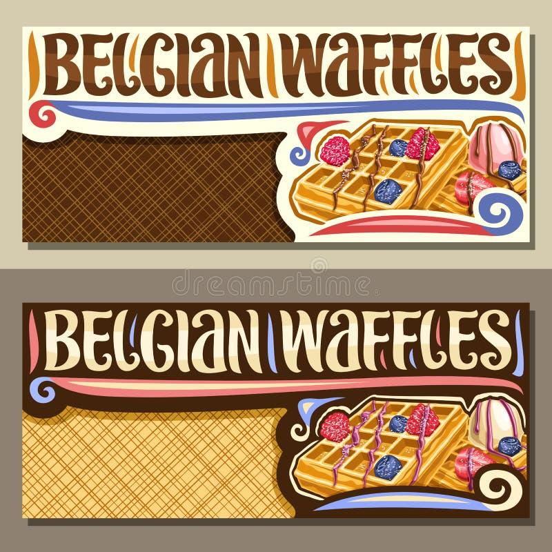 Vektorfahnen für belgische Waffeln stock abbildung