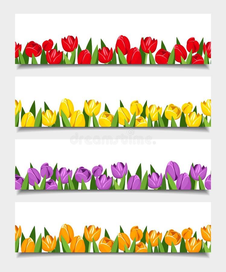 Vektorfahnen mit Tulpenblumen lizenzfreie abbildung