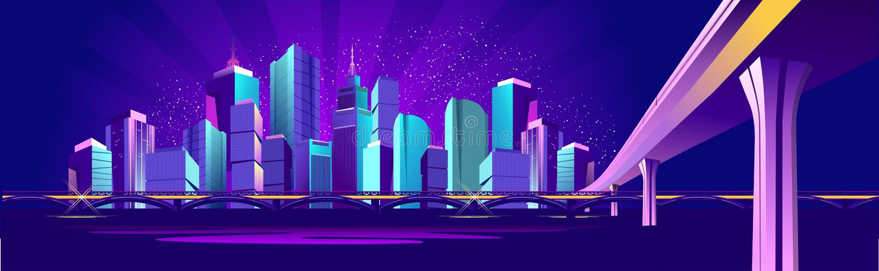 Vektorfahnen-Nachtstadt stock abbildung