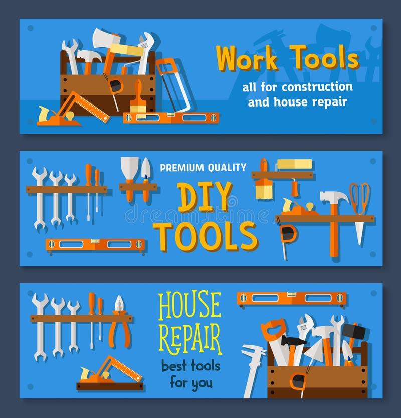 Vektorfahnen von Hausreparatur-Arbeitswerkzeugen lizenzfreie abbildung