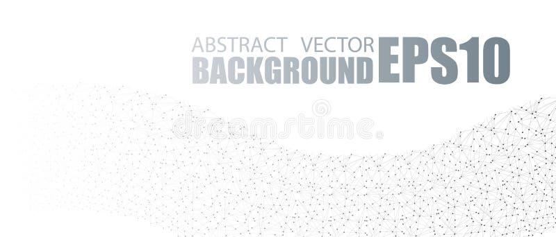 Vektorfahnendesign, Verbindungspunkte und Linien Verbindung des globalen Netzwerks Geometrischer verbundener abstrakter Hintergru stock abbildung