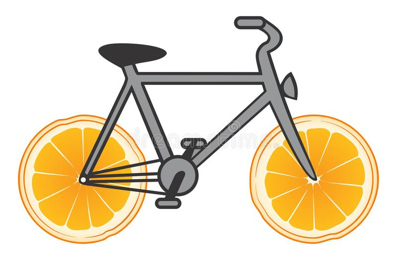 Vektorfahrrad mit den Rädern orange vektor abbildung