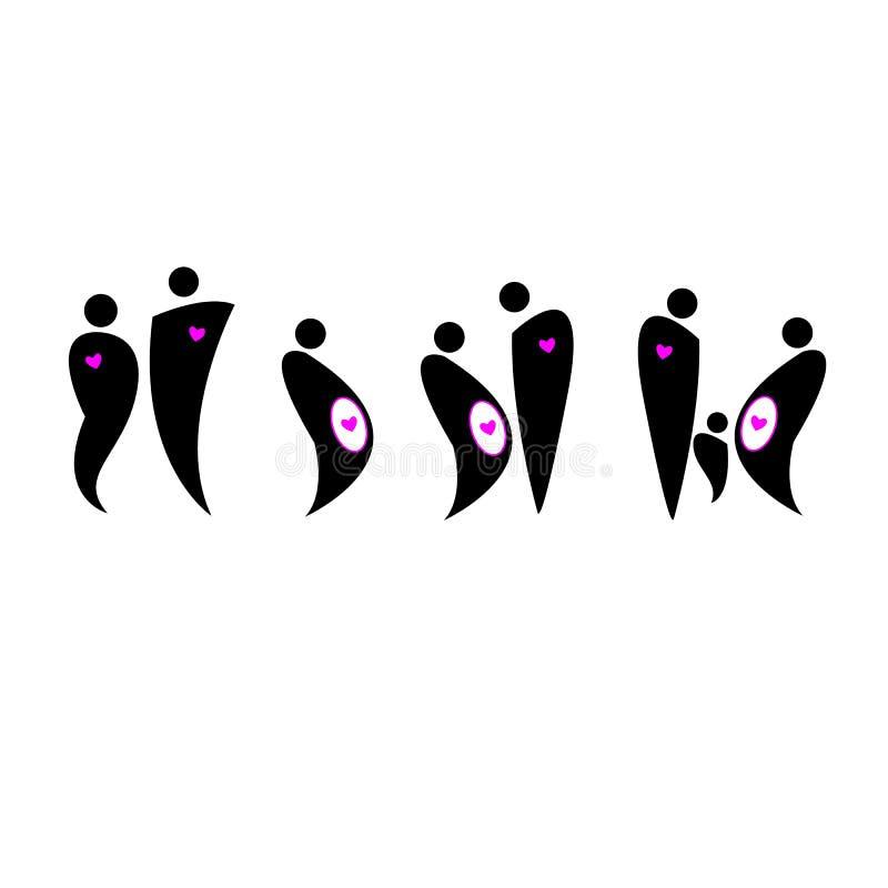 Vektorfamilienikonenleute-Symbolkonzept lizenzfreie abbildung