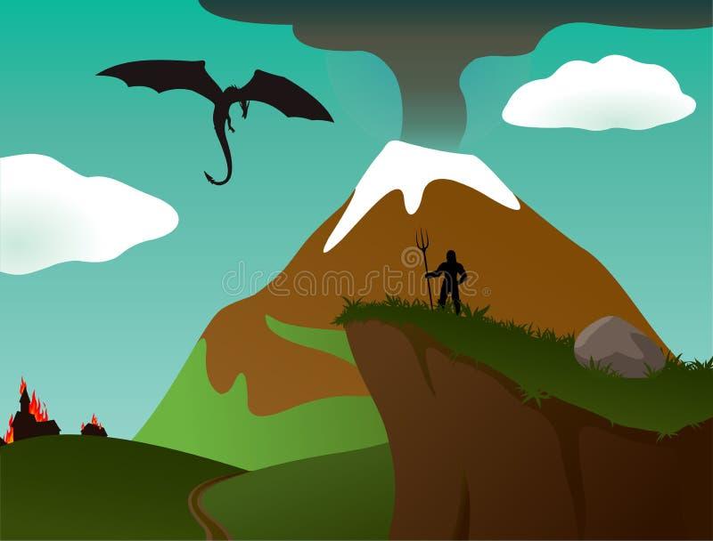 Vektorfantasilandskap stock illustrationer