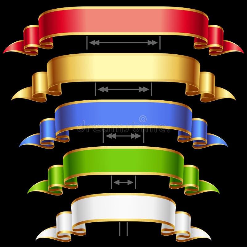 Vektorfarbbänder eingestellt getrennt auf schwarzem Hintergrund lizenzfreie abbildung