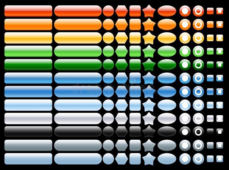 Vektorfarbige und glänzende Web-Tasten lizenzfreie abbildung