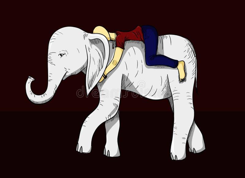 Vektorfarbillustration eines Menschen auf Elefanten in den Grafiken stock abbildung