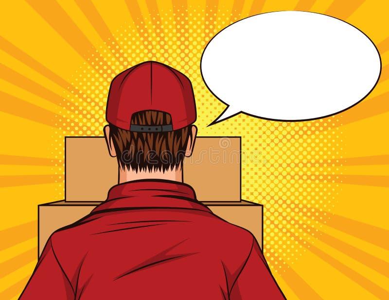 Vektorfarbpop-arten-Artillustration einer Mannstellung mit einem Kasten in seinen Händen Hintere Ansicht des Lieferboteen Lieferu lizenzfreie abbildung