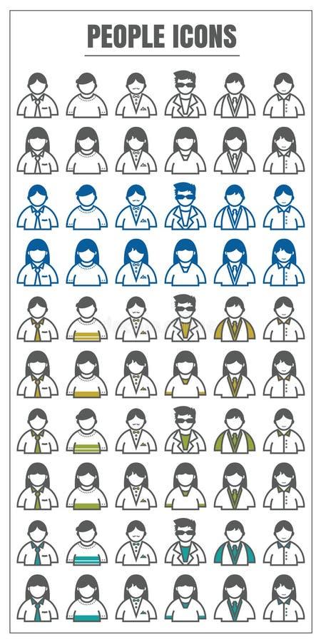 Vektorfarbschwarzes der Ikonen-Leute männlich-weibliches blaues Gelbgrün an vektor abbildung
