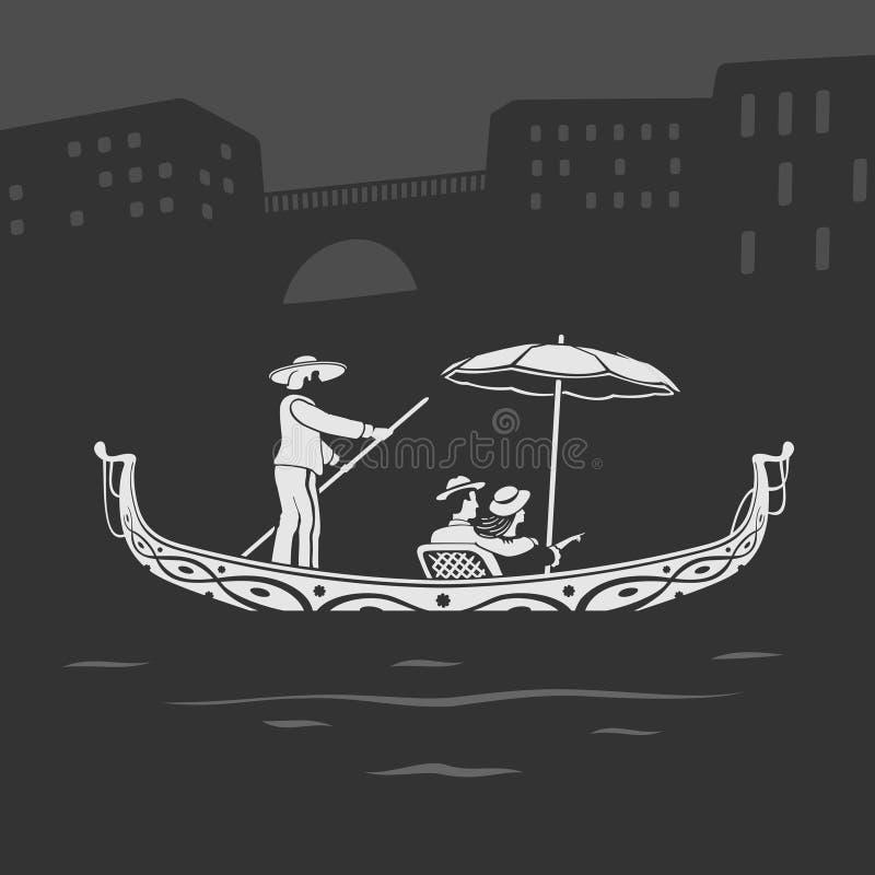 Vektorfartyg Venedig stock illustrationer