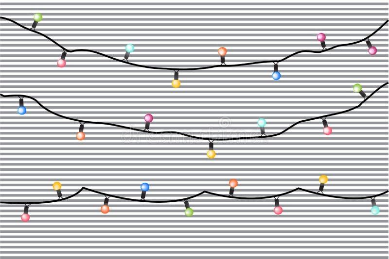 Vektorfeiertagsgirlanden mit bunten Lampen auf einem gestreiften Hintergrund lizenzfreie abbildung