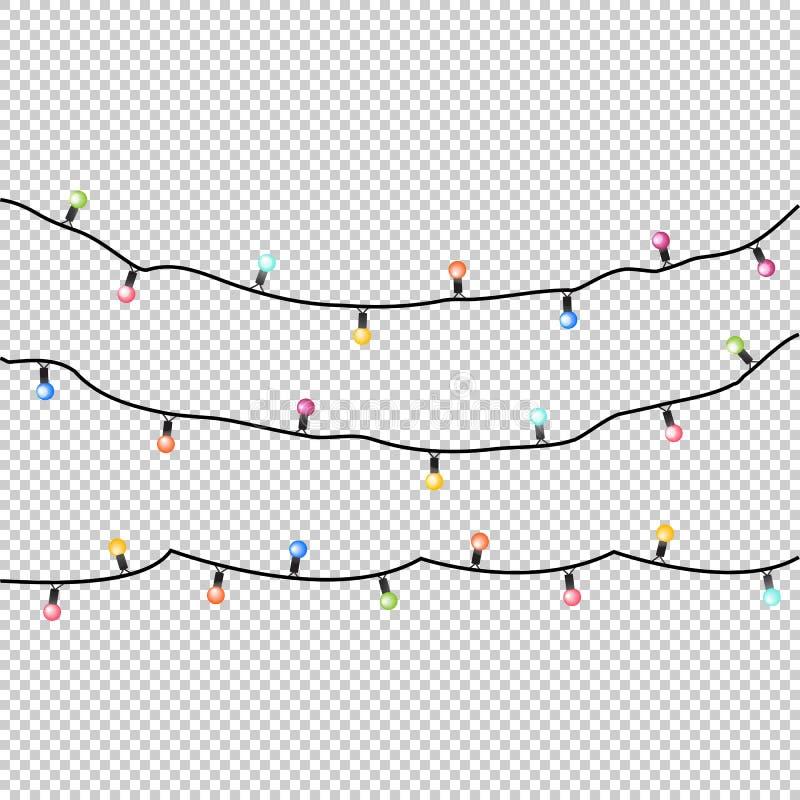 Vektorfeiertagsgirlanden mit bunten Lampen auf einem trancparent Hintergrund vektor abbildung