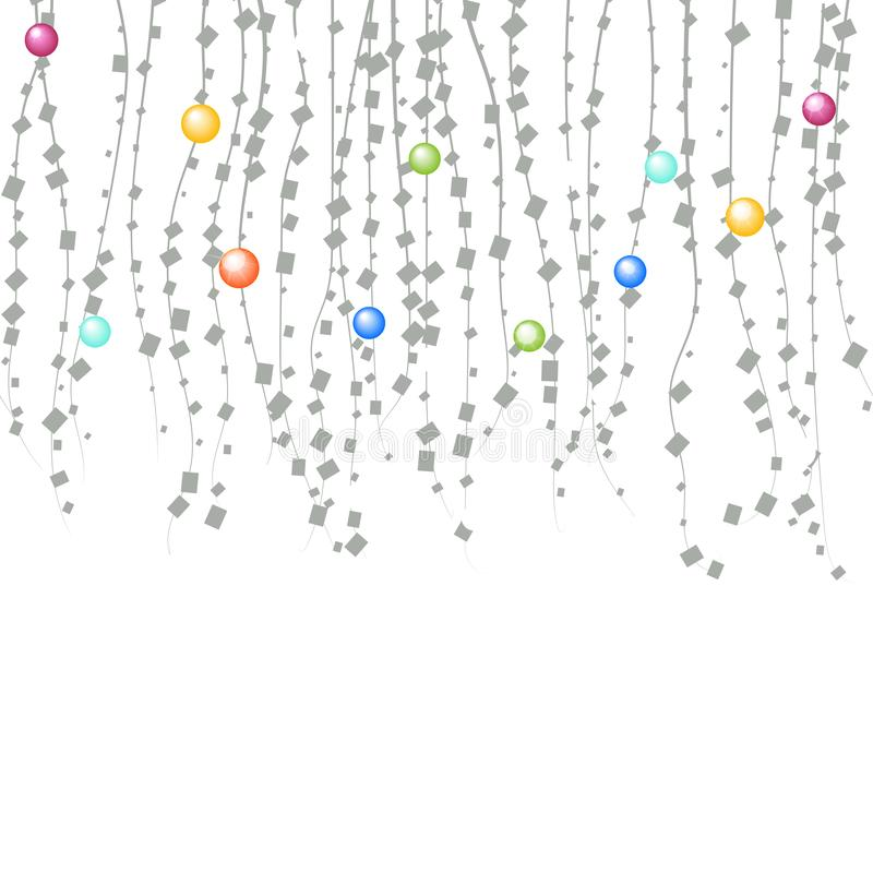 Vektorfeiertagsgirlanden mit bunten Lampen auf einem weißen Hintergrund stock abbildung