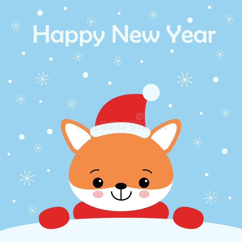 Vektorfeiertagsillustration eines netten Fuchses in einem Hut Frohe Weihnachten und guten Rutsch ins Neue Jahr Weihnachtshintergr lizenzfreie abbildung