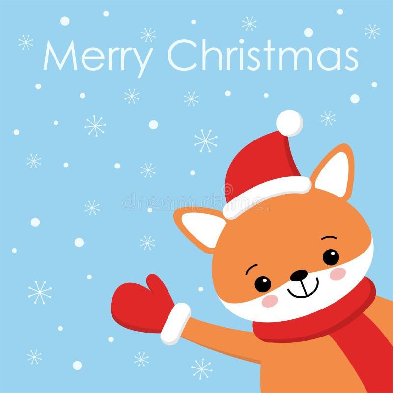 Vektorfeiertagsillustration eines netten Fuchses in einem Hut Frohe Weihnachten und guten Rutsch ins Neue Jahr Weihnachtshintergr stock abbildung