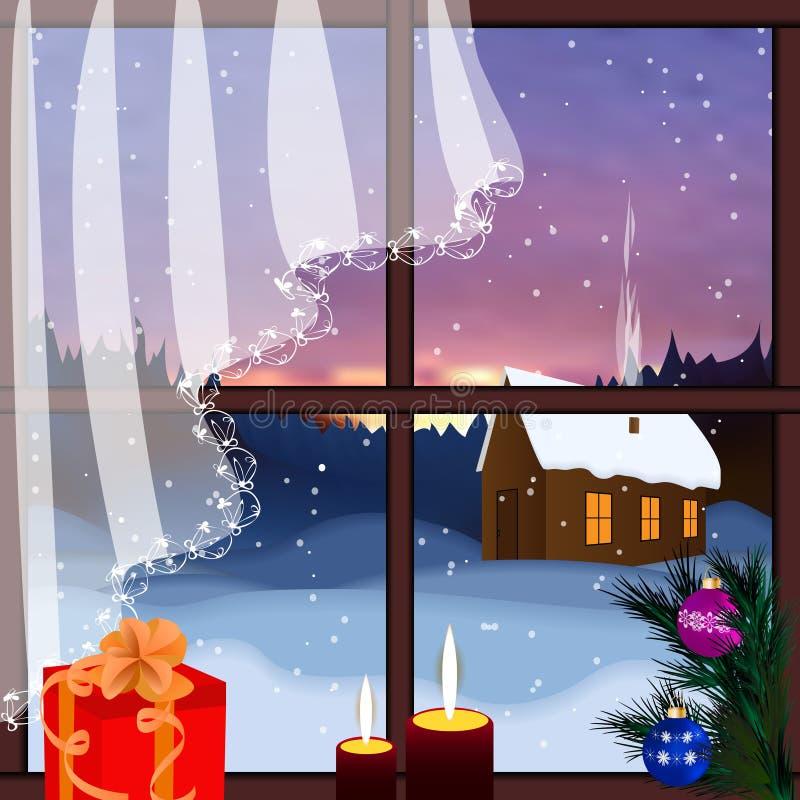 Vektorfenster mit Ansicht des schneebedeckten Hintergrundes stock abbildung