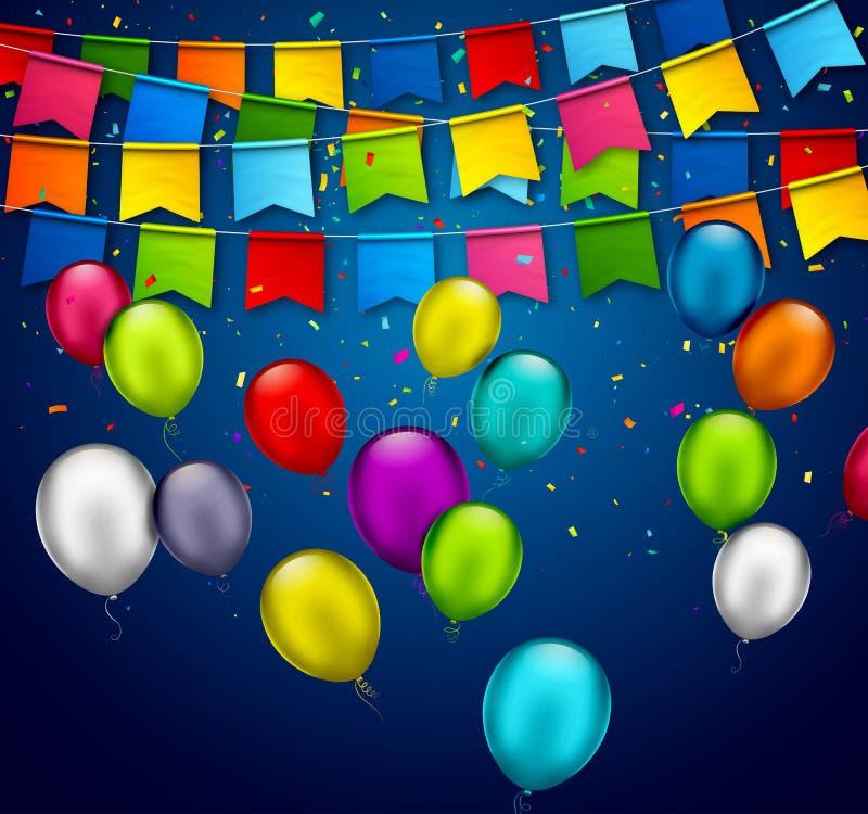 Vektorferiebaner med konfettier, m?ngf?rgade ballonger Hälsningkort med färgrika girlander av flaggor, festlig bunting och luft stock illustrationer