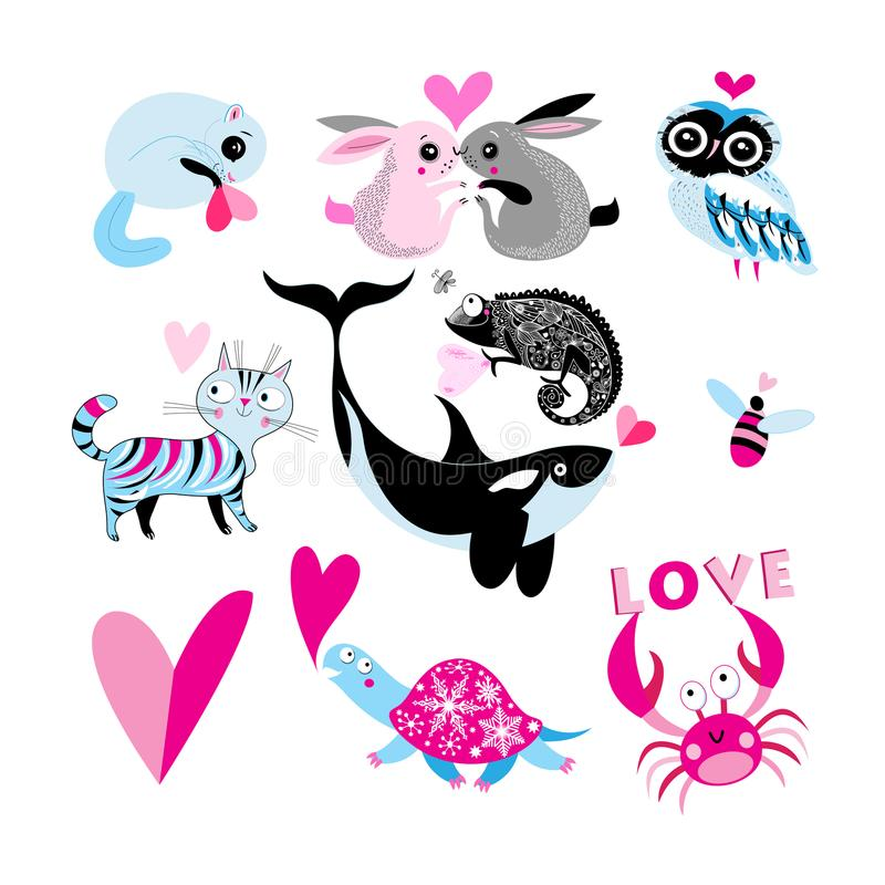 Vektorferieuppsättning av förälskade djur stock illustrationer