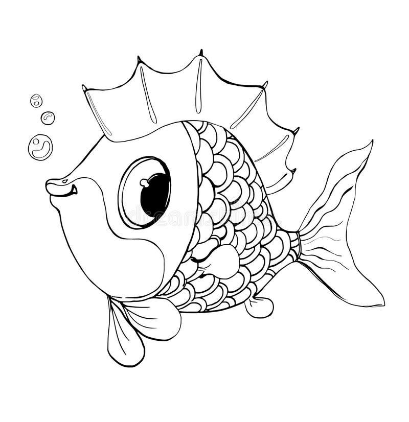 Vektorfisk från en saga Bra fisk för en färgläggning för barn s royaltyfri illustrationer