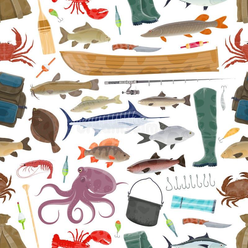 Vektorfiskaresport och fiskefiskmodell royaltyfri illustrationer
