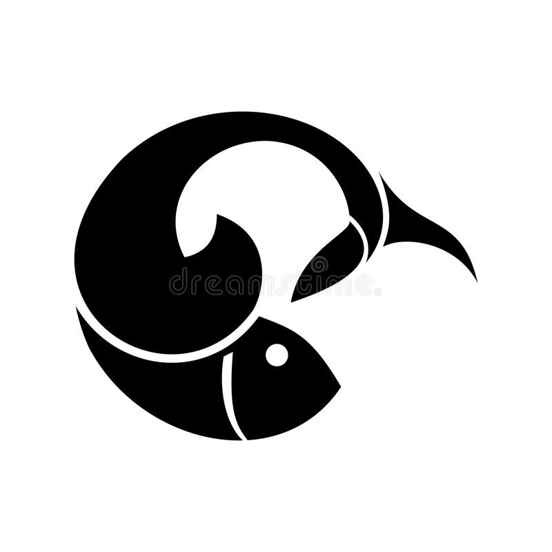 Vektorfisklogo eller symbolsdesign stock illustrationer