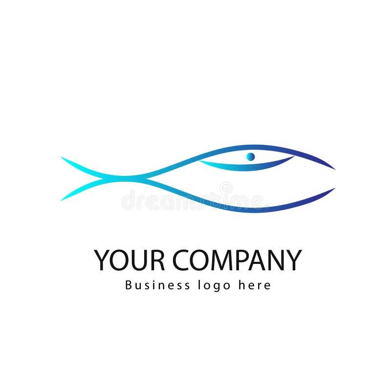 Vektorfisklogo eller symbolsdesign Natur som isoleras Fisk Logo Template Idérikt vektorsymbol av fiskeklubban vektor illustrationer