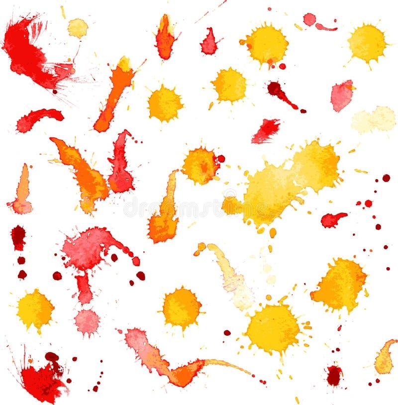 Vektorfläckar och färgstänk av vattenfärgmålarfärg royaltyfri illustrationer