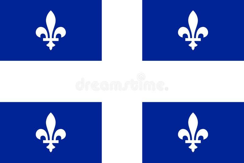 Vektorflagga av det Quebec landskapet Kanada Calgary Edmonton vektor illustrationer