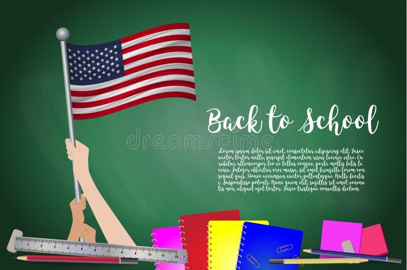 Vektorflagga av Förenta staterna på svart svart tavlabakgrund Utbildningsbakgrund med händer som är hållande upp av USA flaggan t vektor illustrationer