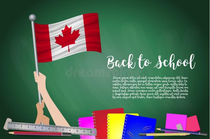 Vektorflagga av Kanada på svart svart tavlabakgrund Utbildningsbakgrund med händer som är hållande upp av den Kanada flaggan Dra  royaltyfri illustrationer