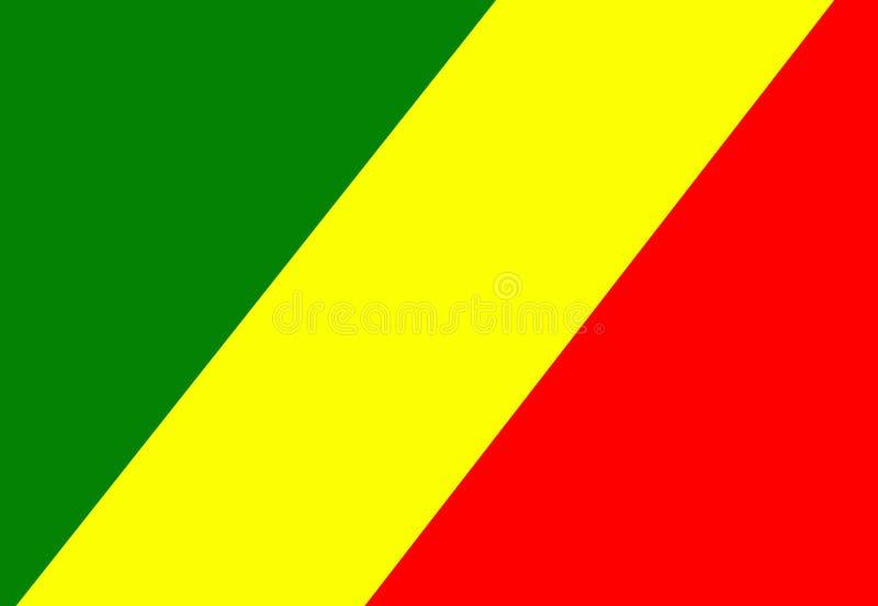 Vektorflagga av Kongofloden Demokratiska Republiken Kongo, nationellt symbol, emblem stock illustrationer
