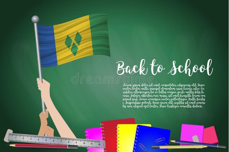 Vektorflagga av Saint Vincent och Grenadinerna på svart chalkbo stock illustrationer